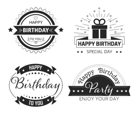 Greeting cards decor, Happy Birthday cup print isolated icons