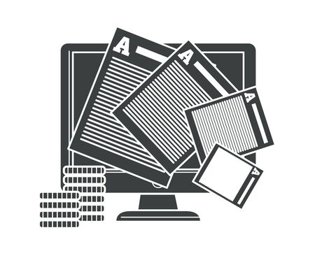 Copyrighting contract and intellectual property protection isolated icon vector. Computer screen and paper sheets, coin stacks. Agreement or written product security, author rights safety and finance