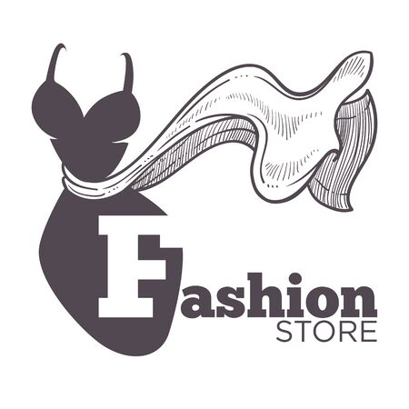 Fashion store or boutique isolated icon, female clothes store