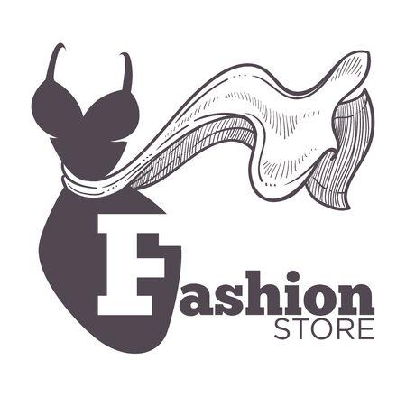 Icône isolée de magasin de mode ou de boutique, magasin de vêtements féminins