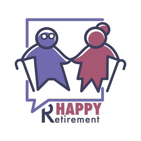 Happy retirement, elderly or nursing home isolated icon