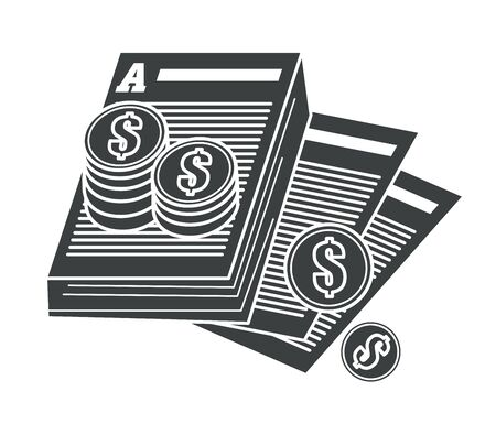 Copyrighting contract and intellectual property protection isolated icon vector. Paper sheets and coin stacks, tax payments. Agreement or written product security, author rights safety and article