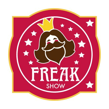Freak show icon with bearded lady head and stars