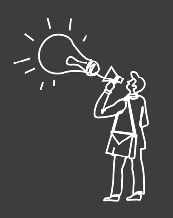 Idea announcement icon. Man in suit with loudspeaker, megaphone and lightbulb symbol. Project start-up promotion, ad presentation, creative message in business. Doodle sketch illustration on black.