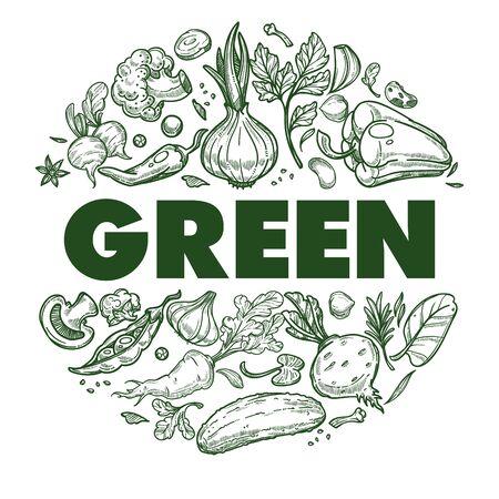 Green vegetables banner with hand drawn icons set in circle Illusztráció