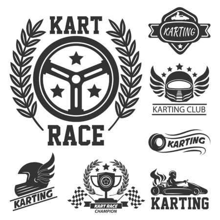 Karting club graphic logo set with kart race elements