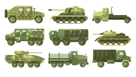 Tanks and armoured trucks camouflage vehicles collection side view