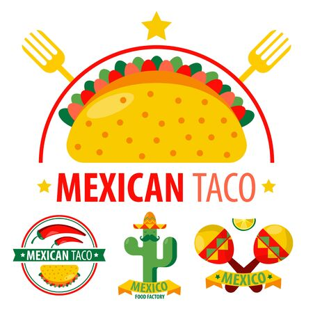 Mexican taco logo with traditional dish closeup and cultural elements
