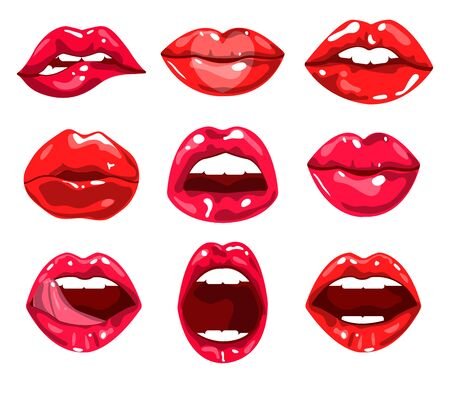Red glossy lips and female mouth expressing different emotions set