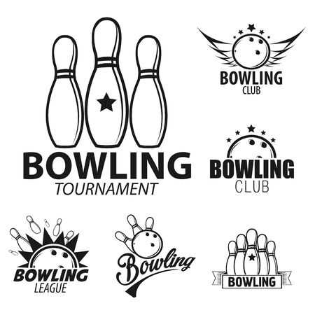 Bowling ball and pins for target game logo set Ilustrace