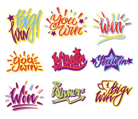 You win lettering text banners collection with congratulatory words