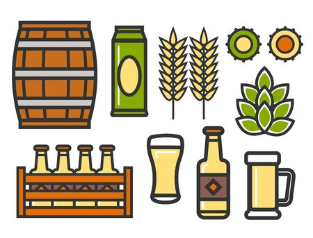 Beer linear icons of brewery barrel and crates with bottles