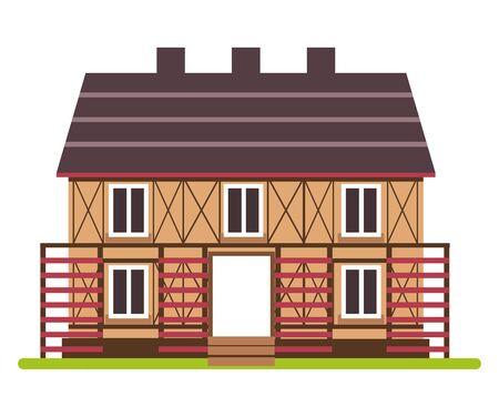 Maison de ferme à deux étages avec vue de face à ossature bois Vecteurs