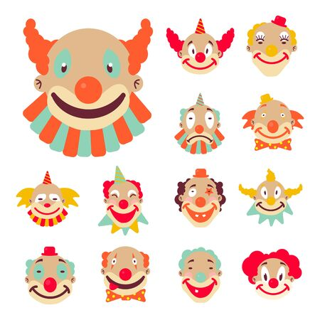 Clown faces icons collection. Funny circus character with smiling, sad expressions. Colourful wigs, collars and head accessories. Halloween mask or kids birthday party performer. Vector illustration.