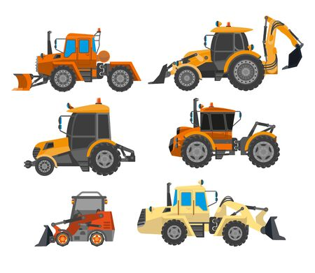 Excavator trucks, heavy machinery vehicles set. Tractor, bulldozer, truck with backhoe loader or long blade grader. Mining or farming equipment and transport. Vector illustration on white background. Ilustrace