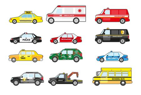 Service and emergency response vehicle cars set, side view. Police car, ambulance van, school bus, taxicab. Municipal departments transportation with badges. Vector illustrations on white background.