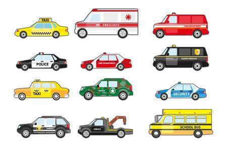 Zestaw samochodów serwisowych i ratowniczych, widok z boku. Samochód policyjny, karetka pogotowia, autobus szkolny, taksówka. Transport wydziałów miejskich z odznakami. Ilustracje wektorowe na białym tle.