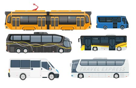 Travel express and shuttle buses set, side view. Long distance trip public transport vehicles with passenger doors for highway road. Vector illustrations, isolated on white background.