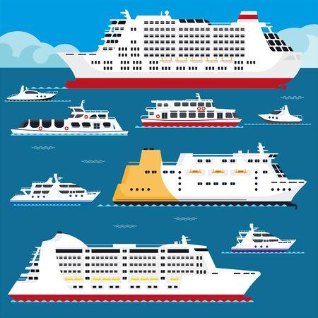 Vue latérale de la collection de voiliers de navires et de paquebots