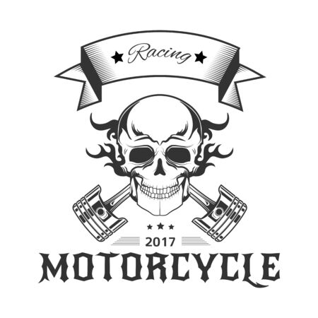 Motorcycle racing logo with skull in flames and bike pistons