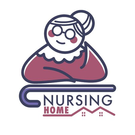 Nursing home logo with old retired woman and walking cane