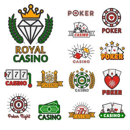 Colección de logotipos de juegos en línea de casino y póquer con texto Logos