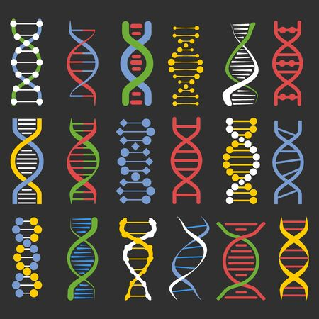 DNA molecule chains colourful icons collection on black background
