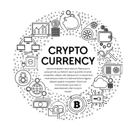 Cryptocurrency banner with linear icons set in circle 일러스트