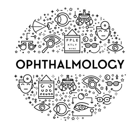 Ophthalmology banner with eyesight testing linear icons set in circle Ilustracja