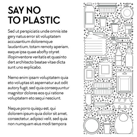 Say no to plastic banner template. Single-use plastics line icons. Food containers, packaging, drink bottles, cups, cutlery and bags. Source of pollution vector illustration on white background, text.