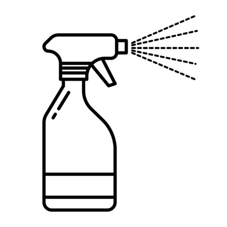 Spray bottle with water mist spraying from nozzle linear icon