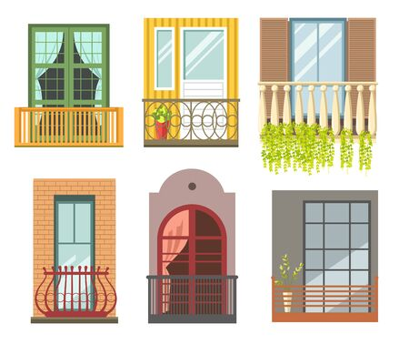 Balconies in different styles with cast iron or stone railings