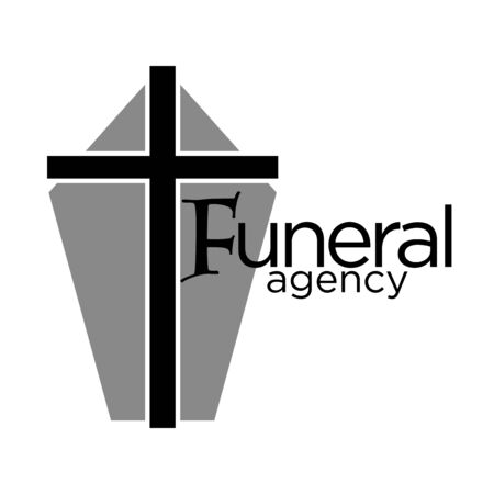 Funeral agency logo with grey coffin casket and cross Logo