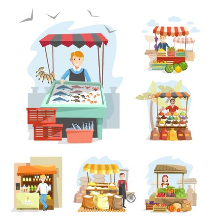 Farm market stands with vendors. Farmers selling iced fish, fresh fruits, vegetables, spices, flour, ice cream and dairy products. Food booths, crates, sack bags of products vector illustrations.