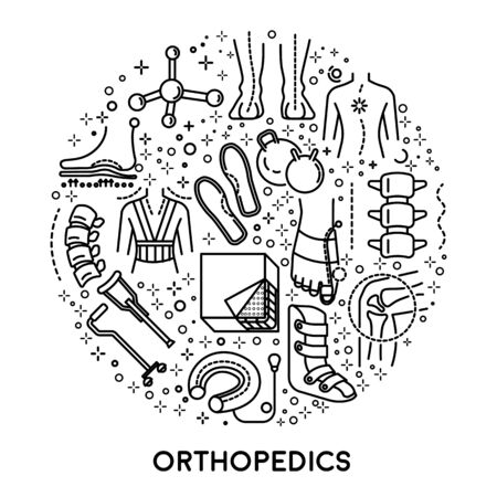 Orthopedics linear icons collection set in circle