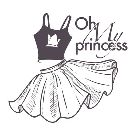 Oh my princess shop logo with top and flared skirt 向量圖像