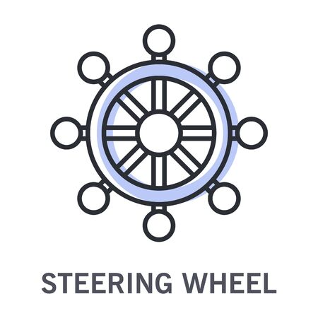 Ship steering wheel and sailing course control linear icon