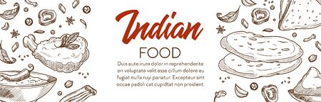 Indian food and cuisine various dishes graphic banner with text