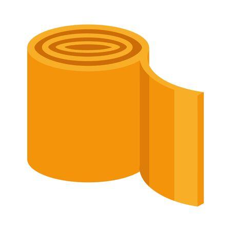 Baumaterial isolierte Ikone, Isolierrolle oder Wolle, Bauarbeiten liefern Vektor. Polyurethan oder Glaswolle, Matratze oder Teppich. Imprägnier- oder Schallschutzprodukt, Linoleum- oder Teppichfolie