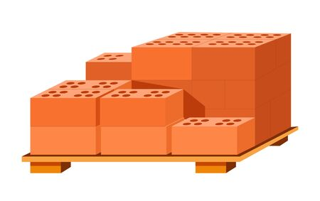 Bricks stack on wooden stand, building materials isolated icon