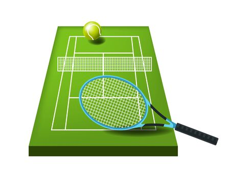 Tennis ball and rocket or net, sports or fitness, activity isolated icon vector. Game equipment, lawn on court, outdoor play ground, championship. Match items and playing surface, sporting equipment