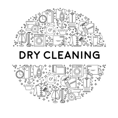 Dry cleaning or laundry service line icons on emblem