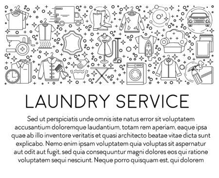 Baner ikony linii pralni lub pralni chemicznej, pranie ubrań Ilustracje wektorowe