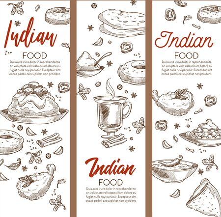 Restaurant menu with cuisine of India sketch banners, Indian food