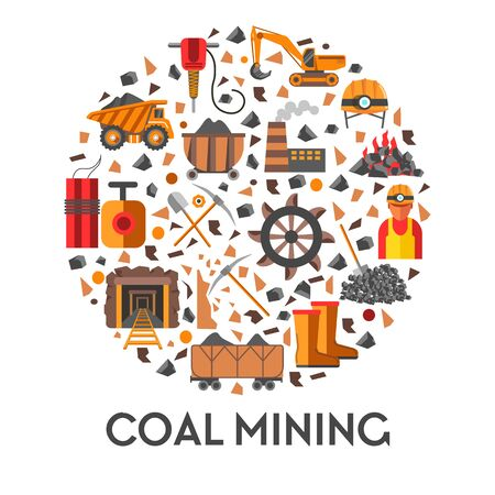 Industrial equipment and coal mining isolated emblem