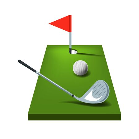Golf game equipment and green course isolated icon