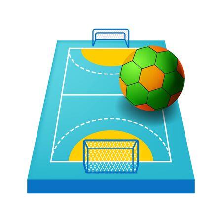 Terrain d'intérieur pour l'icône, le terrain de jeu ou le cours isolés de handball