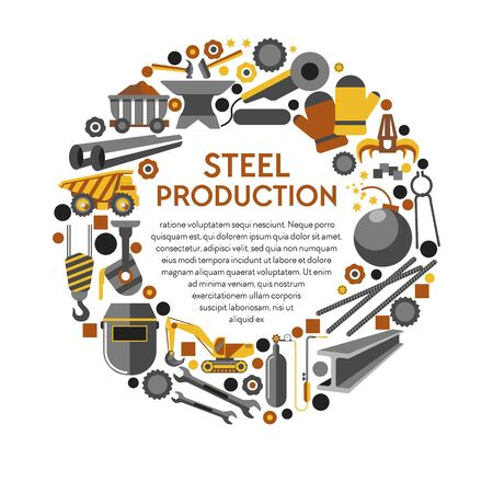 Metal products, steel production or metallurgy industry, work tools, isolated icons vector. Truck and cart, excavator and melting apparatus. Mechanic claw and welding mask, anvil hammer and wrench Ilustração