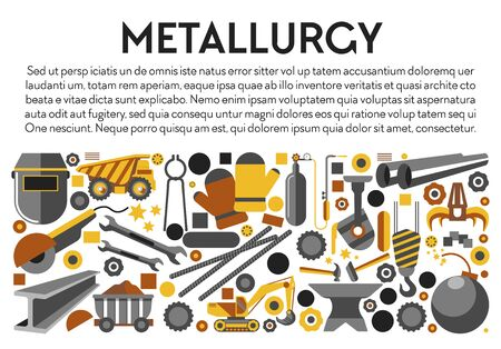 Metal products, metallurgy industry banner, iron mining tools, isolated icons vector. Truck and cart, excavator and melting apparatus. Mechanic claw and welding mask, anvil hammer and wrench