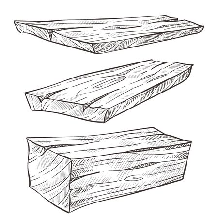 Building materials, wood planks, construction and carpentry isolated sketches vector. Wooden details, fir or oak, natural element, forestry and timber. Processed log, size and length, parquet template Vektorové ilustrace